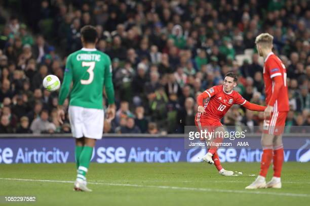 Harry Wilson of Wales scores a goal to make it 10 during the UEFA Nations League B group four match between Ireland and Wales at Aviva Stadium on...