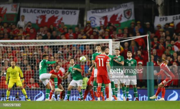 Harry Wilson of Wales scores his team's first goal during the UEFA Nations League B group four match between Ireland and Wales at Aviva Stadium on...