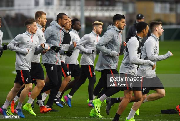 Harry Wilson Ragnar Klavan Emre Can and Georginio Wijnaldum Joel Matip Roberto Firmino and Alberto MOrenoof Liverpool during a training session at...