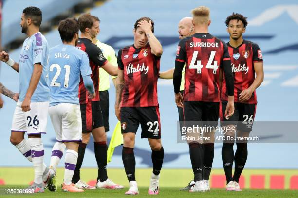 Harry Wilson Sam Surridge and Lloyd Kelly of Bournemouth after their sides 21 defeat during the Premier League match between Manchester City and AFC...