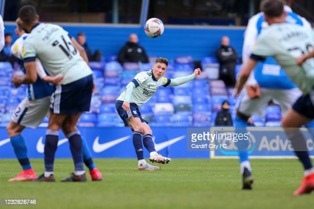 Harry Wilson scores his third and Cardiff City's fourth goal during the Sky Bet Championship match between Birmingham City and Cardiff City at St...