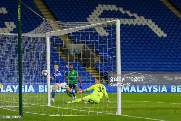 Harry Wilson scores the second goal for Cardiff City FC during the Sky Bet Championship match between Cardiff City and Birmingham City at Cardiff...