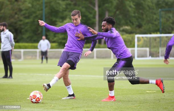 Harry Winks and Danny Rose of Tottenham Hotspur during the Tottenham Hotspur media day at Tottenham Hotspur Training Centre on May 27 2019 in Enfield...