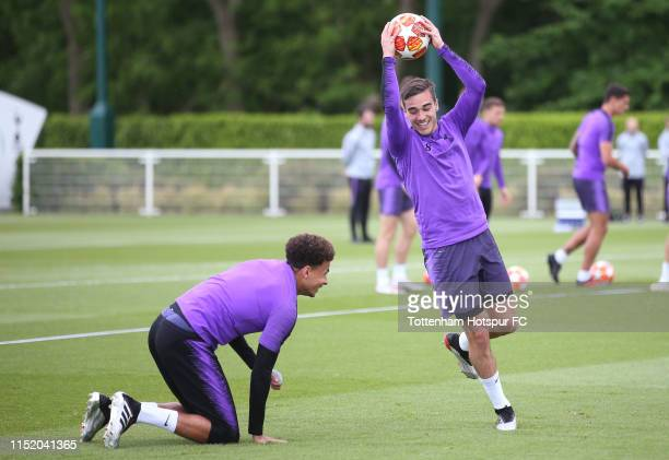 Harry Winks and Dele Alli of Tottenham Hotspur during the Tottenham Hotspur media day at Tottenham Hotspur Training Centre on May 27 2019 in Enfield...