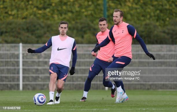 Harry Winks and Harry Kane of Tottenham Hotspur during the Tottenham Hotspur training session at Tottenham Hotspur Training Centre on May 05, 2021 in...