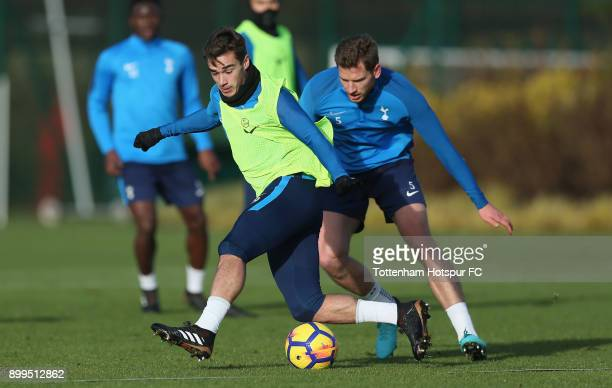 Harry Winks and Jan Vertonghen of Tottenham Hotspur during the Tottenham Hotspur training session at Tottenham Hospur Training Centre on December 29...