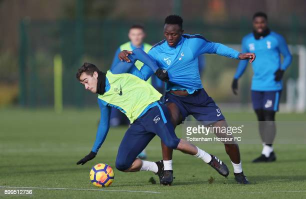 Harry Winks and Victor Wanyama of Tottenham Hotspur during the Tottenham Hotspur training session at Tottenham Hospur Training Centre on December 29...