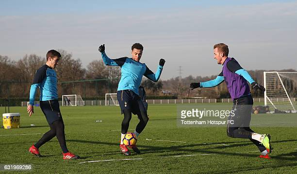 Harry Winks Dele Alli and Harry Kane of Tottenham during the Tottenham Hotspur training session at Tottenham Hotspur Training Centre on January 18...