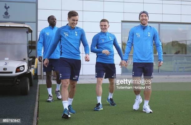 Harry Winks Kieran Trippier and Christian Eriksen of Tottenham during the Tottenham Hotspur training session at Tottenham Hotspur Training Centre on...