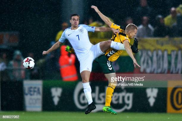 Harry Winks of England and Ovidijus Verbickas of Lithuania during the FIFA 2018 World Cup Qualifier between Lithuania and England on October 8 2017...