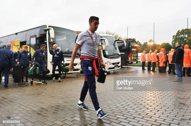 Harry Winks of England arrives prior to the FIFA 2018 World Cup Group F Qualifier between Lithuania and England at LFF Stadium on October 8 2017 in...