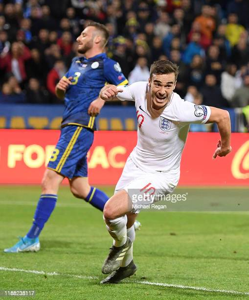 Harry Winks of England celebrates after scoring his team's first goal during the UEFA Euro 2020 Qualifier between Kosovo and England at the Pristina...