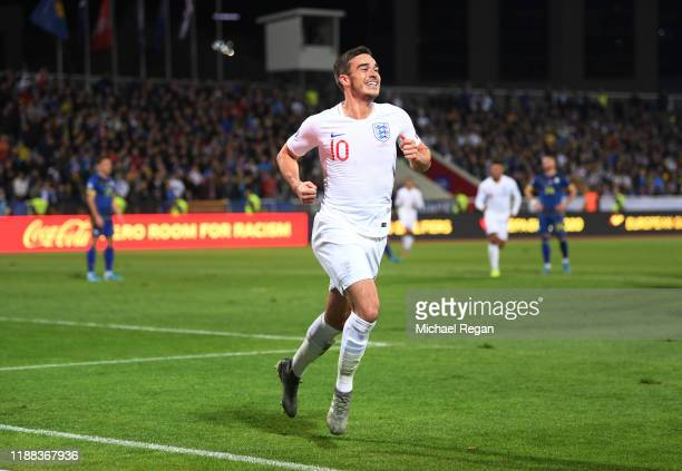 Harry Winks of England celebrates his goal to make it 10 during the UEFA Euro 2020 Qualifier between Kosovo and England on November 17 2019 in...