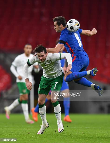 Harry Winks of England collides with Alan Browne of Republic of Ireland during the international friendly match between England and the Republic of...