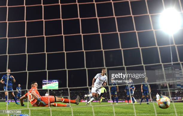 Harry Winks of England scores his team's first goal during the UEFA Euro 2020 Qualifier between Kosovo and England at the Pristina City Stadium on...