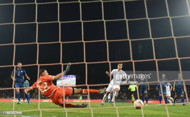 Harry Winks of England scores to make it 1-0 during the UEFA Euro 2020 Qualifier between Kosovo and England on November 17, 2019 in Pristina, Kosovo.