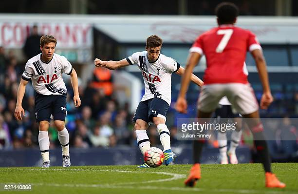 Harry Winks of Spurs shoots at goal during the U21 Barclays Premier League match between Tottenham Hotspur and Manchester United at White Hart Lane...