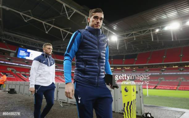 Harry Winks of Tottenham arrives prior to the Premier League match between Tottenham Hotspur and Brighton and Hove Albion at Wembley Stadium on...