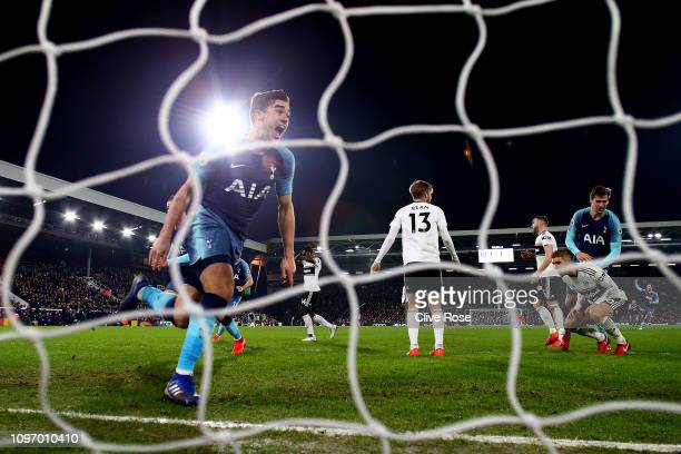 Harry Winks of Tottenham celebrates after he scores his sides second goal during the Premier League match between Fulham FC and Tottenham Hotspur at...