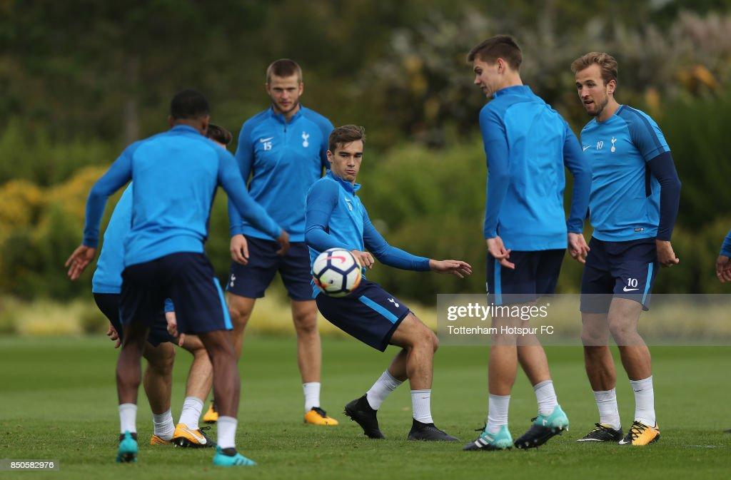 Harry Winks of Tottenham during the Tottenham Hotspur training session at Tottenham Hotspur Training Centre on September 21, 2017 in Enfield, England.