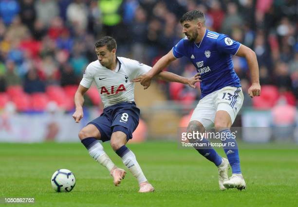 Harry Winks of Tottenham Hotspur and Anthony Pilkington of Cardiff City during the Premier League match between Tottenham Hotspur and Cardiff City at...