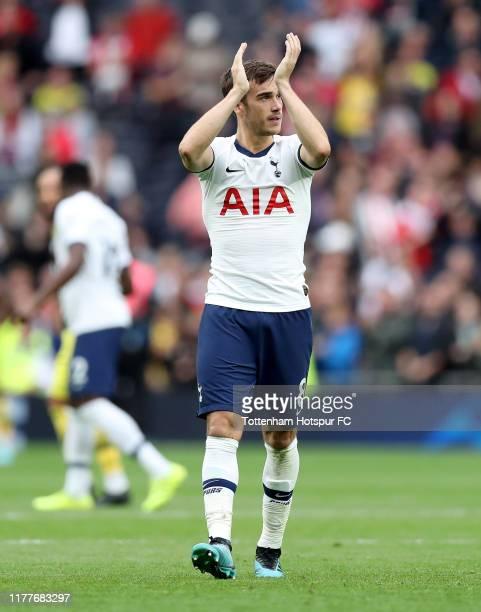 Harry Winks of Tottenham Hotspur applauds fans after the Premier League match between Tottenham Hotspur and Southampton FC at Tottenham Hotspur...