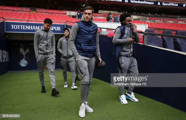 Harry Winks of Tottenham Hotspur arrives at the stadium ahead of The Emirates FA Cup Fifth Round Replay match between Tottenham Hotspur and Rochdale...