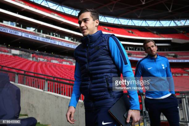 Harry Winks of Tottenham Hotspur arrives at the stadium prior to the Premier League match between Tottenham Hotspur and West Bromwich Albion at...