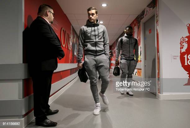 Harry Winks of Tottenham Hotspur arrives at the stadium prior to the Premier League match between Liverpool and Tottenham Hotspur at Anfield on...