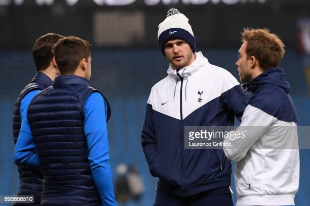 Harry Winks of Tottenham Hotspur Ben Davies of Tottenham Hotspur Eric Dier of Tottenham Hotspur and Christian Eriksen of Tottenham Hotspur speak on...