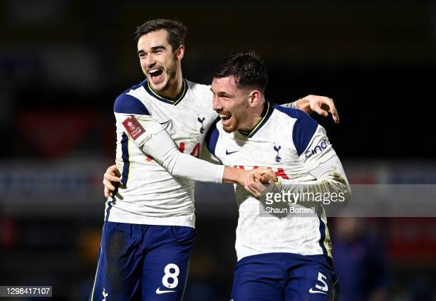 Harry Winks of Tottenham Hotspur celebrates after scoring their sides second goal with team mate Pierre-Emile Højbjerg during The Emirates FA Cup...