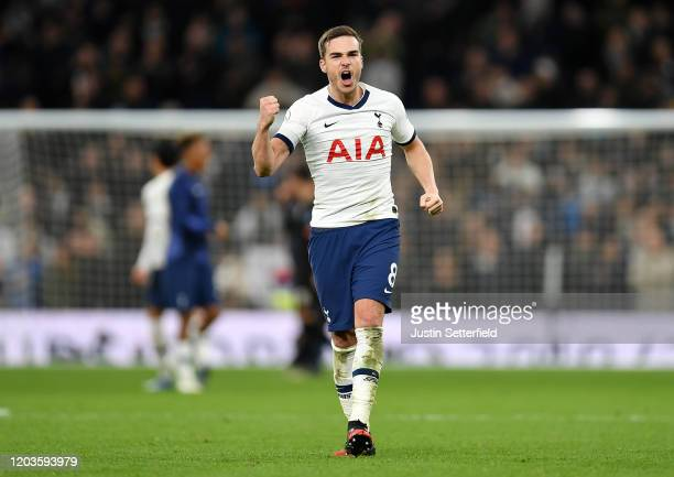 Harry Winks of Tottenham Hotspur celebrates following his sides victory after the Premier League match between Tottenham Hotspur and Manchester City...