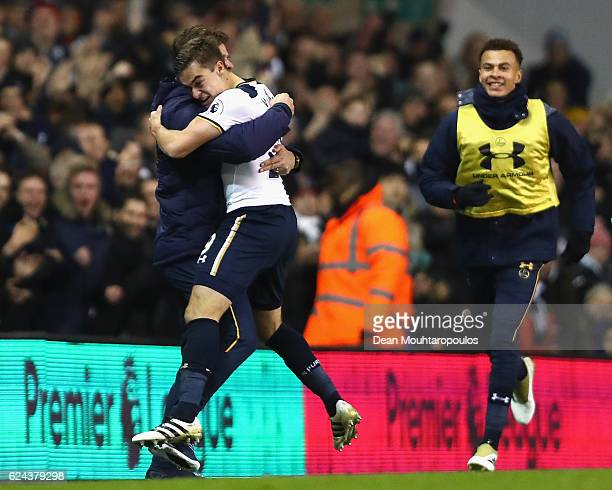 Harry Winks of Tottenham Hotspur celebrates scoring his sides first goal with Mauricio Pochettino Manager of Tottenham Hotspur during the Premier...