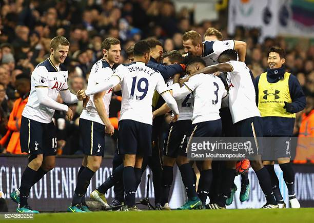 Harry Winks of Tottenham Hotspur celebrates scoring his sides first goal with his Tottenham Hotspur team mates during the Premier League match...