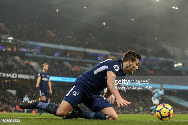 Harry Winks of Tottenham Hotspur during the Premier League match between Manchester City and Tottenham Hotspur at Etihad Stadium on December 16 2017...