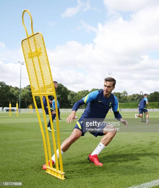 Harry Winks of Tottenham Hotspur during the Tottenham Hotspur pre-season training session at Tottenham Hotspur Training Centre on July 29, 2021 in...