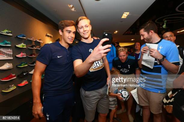 Harry Winks of Tottenham Hotspur FC poses with fans on a visit to Nike Town on Tottenham Hotspur PreSeason Tour to the US on July 23 2017 in New York...
