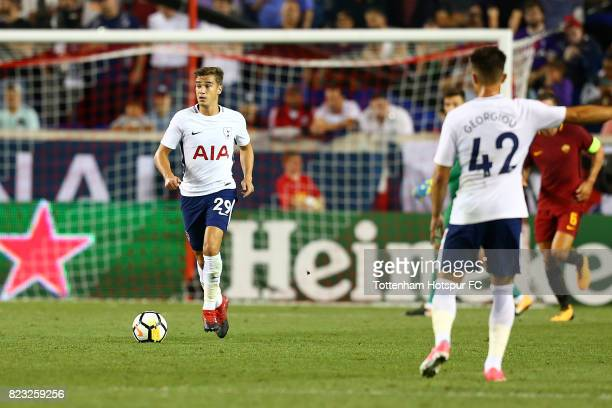 Harry Winks of Tottenham Hotspur in action against the Roma during the International Champions Cup 2017 at Red Bull Arena on July 25, 2017 in...