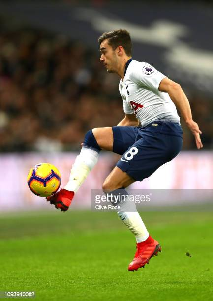 Harry Winks of Tottenham Hotspur in action the Premier League match between Tottenham Hotspur and Manchester United at Wembley Stadium on January 13...