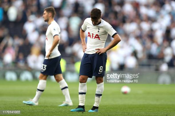 Harry Winks of Tottenham Hotspur looks dejected after his sides defeat in the Premier League match between Tottenham Hotspur and Newcastle United at...