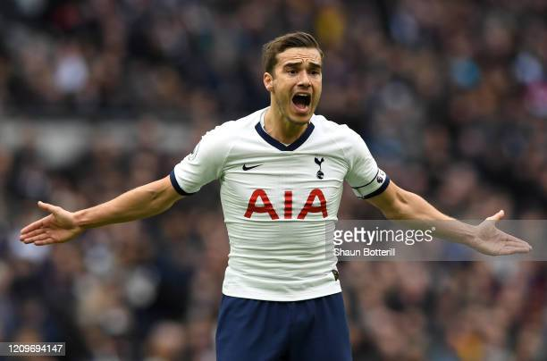 Harry Winks of Tottenham Hotspur reacts during the Premier League match between Tottenham Hotspur and Wolverhampton Wanderers at Tottenham Hotspur...