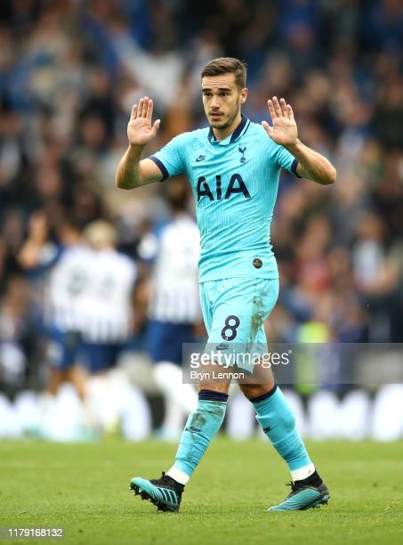 Harry Winks of Tottenham Hotspur reacts to the fans after the Premier League match between Brighton Hove Albion and Tottenham Hotspur at American...