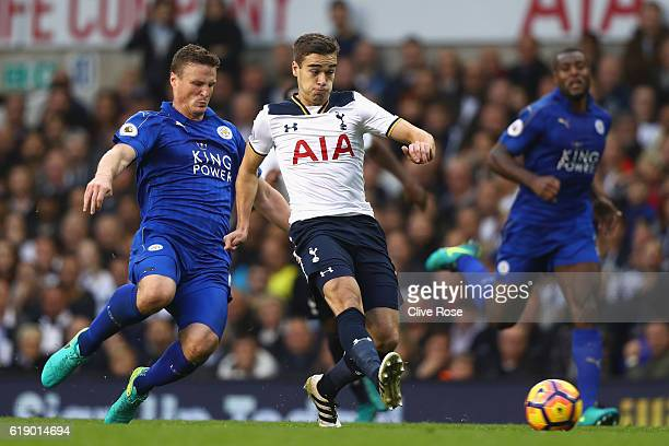 Harry Winks of Tottenham Hotspur shoots during the Premier League match between Tottenham Hotspur and Leicester City at White Hart Lane on October 29...