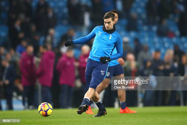 Harry Winks of Tottenham Hotspur warms up prior to the Premier League match between Manchester City and Tottenham Hotspur at Etihad Stadium on...
