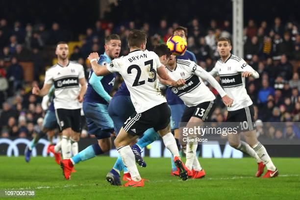 Harry Winks of Tottenham scores his sides second goal during the Premier League match between Fulham FC and Tottenham Hotspur at Craven Cottage on...