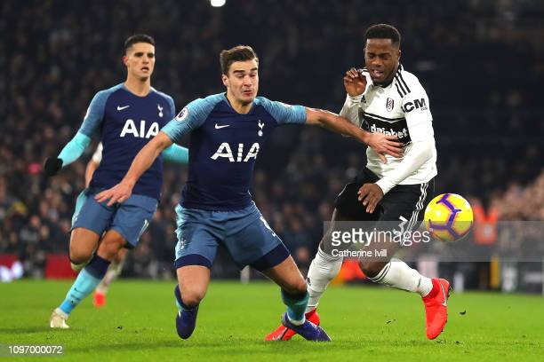 Harry Winks of Tottenham tackles Ryan Sessegnon of Fulham during the Premier League match between Fulham FC and Tottenham Hotspur at Craven Cottage...