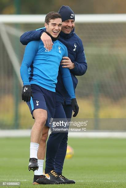 Harry Winks of Tottenham with first team coach Miguel D'Agostino during the Tottenham Hotspur training session at Tottenham Hotspur Training Centre...