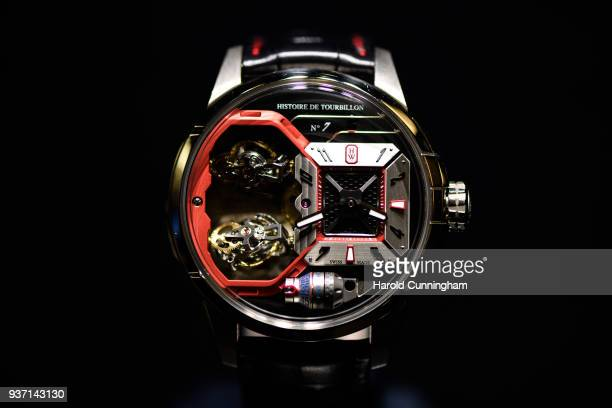 Harry Winston Histoire de Tourbillon number 7 watch is displayed at the BaselWolrd watch fair on March 23 2018 in Basel Switzerland The annual watch...