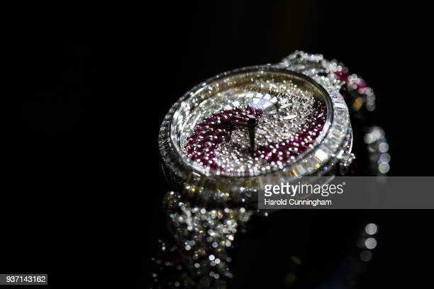 Harry Winston watch is displayed at the BaselWolrd watch fair on March 23 2018 in Basel Switzerland The annual watch trade fair sees the very latest...