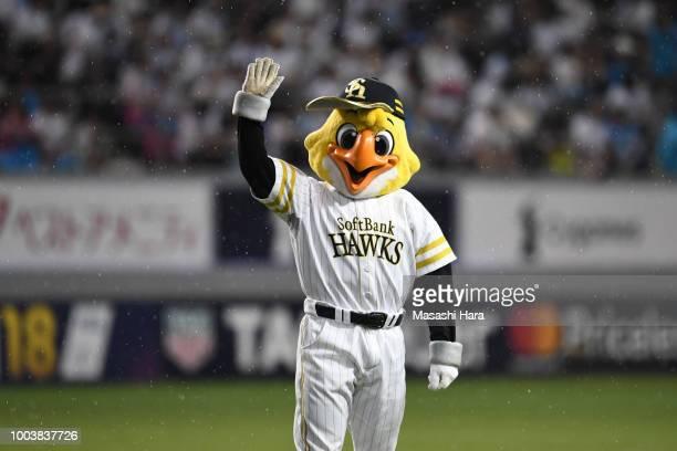 Harryhawk Mascot of Baseball teamFukuoka Softbank Hawks is seen during the JLeague J1 match between Sagan Tosu and Vegalta Sendai at Best Amenity...